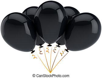 pretas, partido, aniversário, balões, cinco