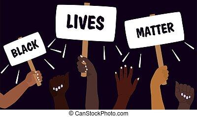 pretas, pele, caricatura, direitos, protestar, vetorial, igual, races., grupo, protesto, segurando, calmo, vive, nações, diferente, matter., color., luta, tudo, texto, ilustração, placards., pessoas, rally