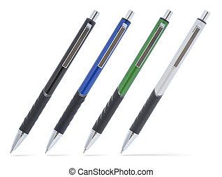 pretas, pen., azul, pen., verde, pen., prata, (grey), caneta