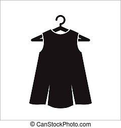 pretas, pequeno, cabide, vestido