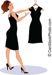 pretas, pequeno, mostrando, saleswoman, d