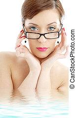 pretas, plástico, óculos, senhora, em, água