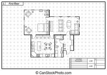 pretas, plano arquitetura, de, casa, em, blueprint, estilo, branco