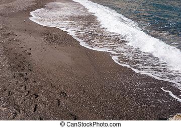 pretas, praia, ligado, a, ilha, santorini