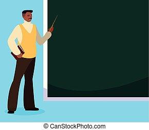 pretas, professor, chalkboard
