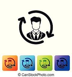 pretas, recursos humanos, ícone, isolado, branco, experiência., conceito, de, recursos humanos, gerência, profissional, pessoal, pesquisa, encabece caçador, job., jogo, ícone, em, cor, quadrado, buttons., vetorial, ilustração