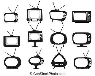 pretas, retro, tv, ícones, jogo