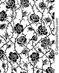 pretas, roses., seamless, padrão