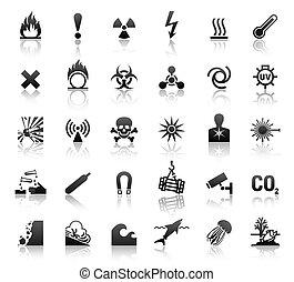 pretas, símbolos, perigo, ícones