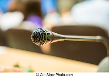 pretas, sala, conferência, microfone