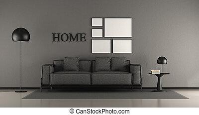 pretas, sala, minimalista, vivendo