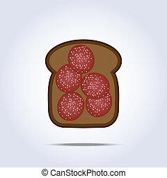 pretas, salame, toaste, ícone