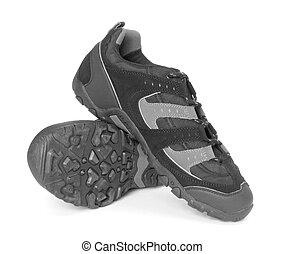 pretas, sapatos correntes, isolado