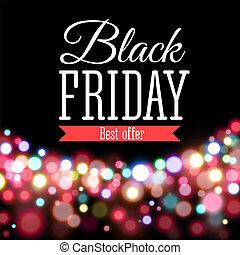 pretas, sexta-feira, cartaz venda, em, realístico, estilo, incluir, fundo, com, luzes
