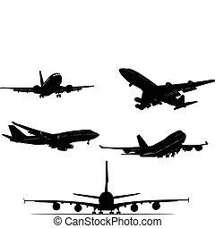pretas, silhouett, avião, branca