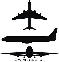 pretas, silhuetas, aviões