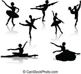 pretas, silhuetas, de, bailarinas
