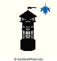 pretas, silueta, de, human, tower., fantasia, object., arqueiro, medieval, watchtower., jogo, fortaleza, ícone