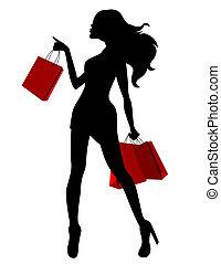 pretas, silueta, de, mulher jovem, e, vermelho, sacolas