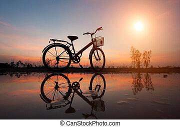pretas, silueta, de, um, bicicleta, estacionado, ligado, a, waterfront, e, reflexão