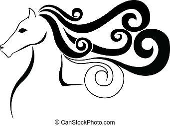 pretas, silueta, de, um, cavalo