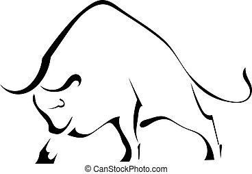 pretas, silueta, de, um, forte, selvagem, touro