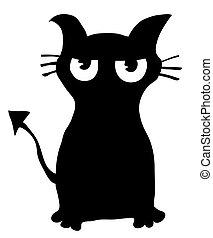 pretas, silueta, gato