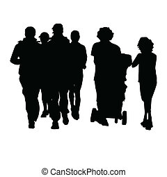 pretas, silueta, ilustração, pessoas