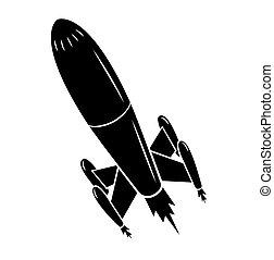 pretas, silueta, lançamento foguete