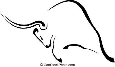 pretas, silueta, perfil, de, um, agressivo, touro, isolado,...