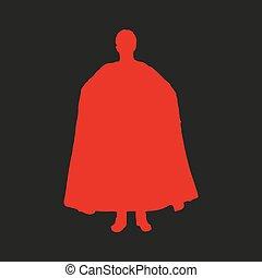 pretas, silueta, superhero, experiência vermelha