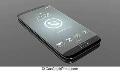 pretas, smartphone, borda, com, perdido, chamada, notificação, ligado, tela, isolado, ligado, black.
