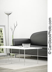 pretas, sofá, em, um, quarto branco