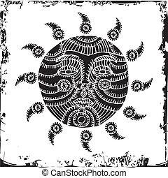 pretas, sol, ilustração