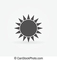 pretas, sol, logotipo, ou, ícone