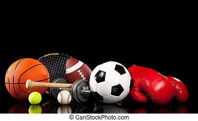 pretas, sortido, equipamento, esportes