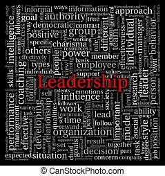 pretas, tag, palavra, nuvem, liderança