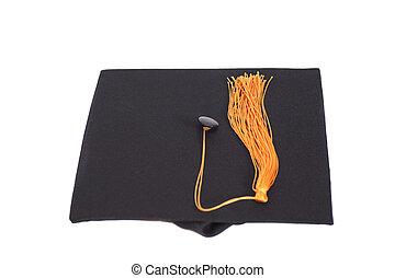 pretas, tassel, chapéu, graduação, ouro