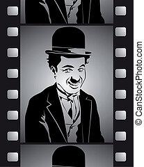 pretas, tiro, película, branca