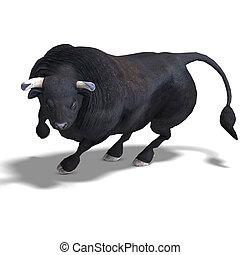 pretas, touro, é, pronto, para, a, luta