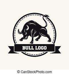 pretas, touro, desenho, modelo, ícone