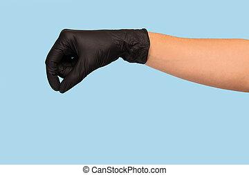 pretas, tu, mão, médico, anunciando, produto, lata, escarneça, inserção, luva, seu, experiência., cima, segura, objeto, azul