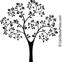 pretas, vetorial, árvore