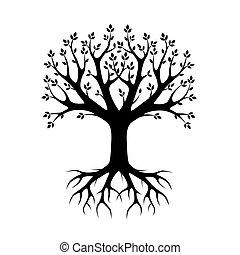 pretas, vetorial, árvore, e, roots., vetorial, illustration., parque, e, nature.