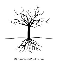 pretas, vetorial, árvore, illustration., roots.