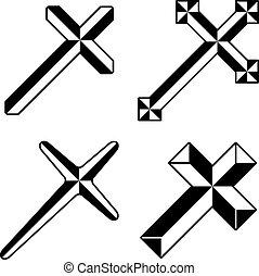 pretas, vetorial, cristão, cruzes