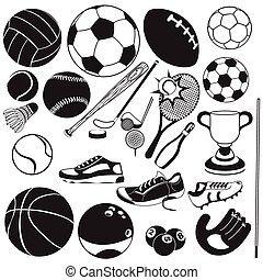 pretas, vetorial, desporto, bola, ícones