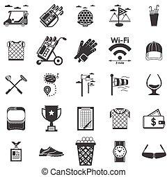 pretas, vetorial, golfe, cobrança, ícones