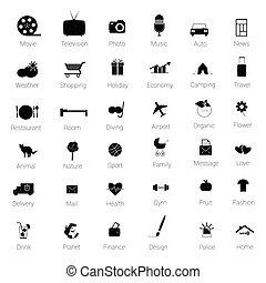 pretas, vetorial, jogo, ilustração, ícones