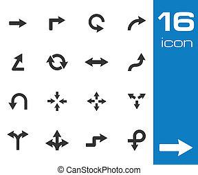 pretas, vetorial, setas, ícone, ícones